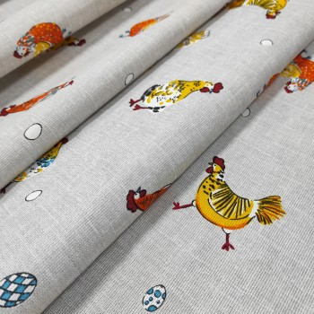 Скатертная ткань рогожка Курочки 913071