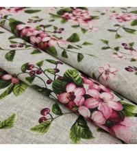 Скатертная ткань рогожка Вишневый сад