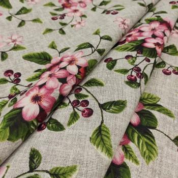 Скатертная ткань рогожка Вишневый сад 953561