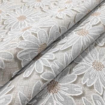 Скатертная ткань рогожка Ромашки бежевый 986461