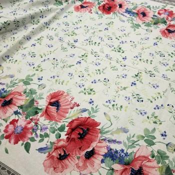 Скатертная ткань рогожка Маки белый 988551