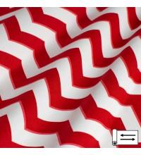 Декоративная ткань Зигзаг красный 180 см