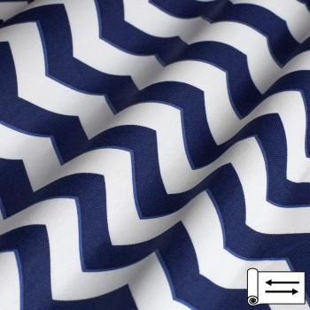 Декоративная ткань Зигзаг синий 180 см
