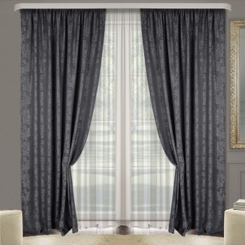 Комплект штор Эмель мрамор темно-серый