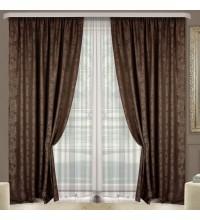 Комплект штор Эмель мрамор коричневый
