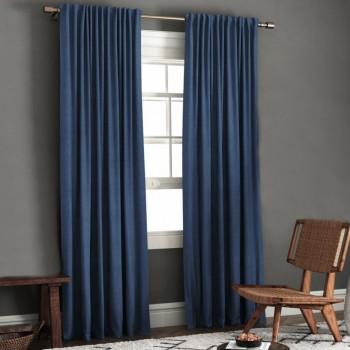 Комплект штор блэкаут рогожка синий
