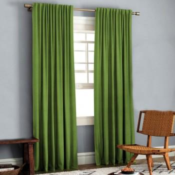 Комплект штор блэкаут рогожка зеленый