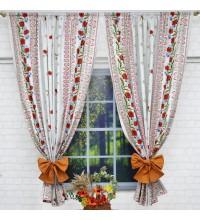 Комплект штор рогожка Орнамент маки