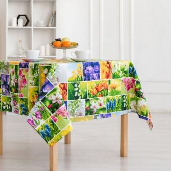 Скатерть рогожка Первоцветы 150733561