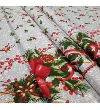 Новогодняя ткань для скатерти Рождественская