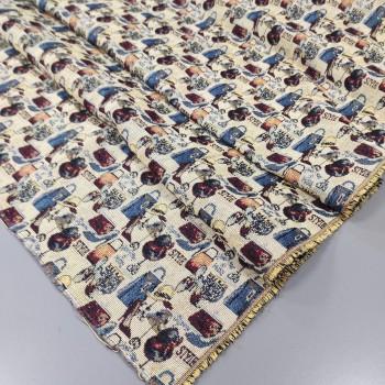 Ткань гобелен Модный стиль синий 557831