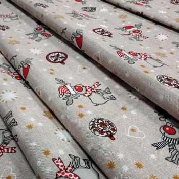 Новогодняя ткань Christmas deer натуральный 576351