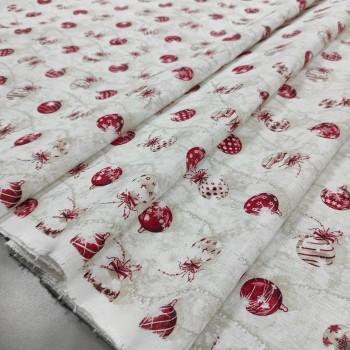 Новогодняя ткань Шары бежевый 075271