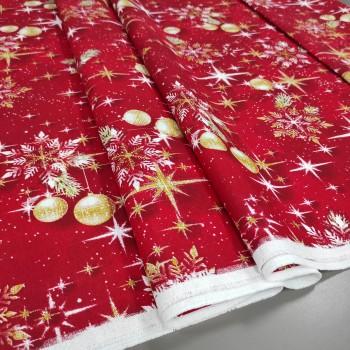 Новогодняя ткань Снежинки красный 361761