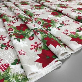 Новогодняя ткань Рождественник бежевый 386351