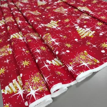 Новогодняя ткань Серпантин красный 865721