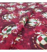 Новогодняя ткань Елочные игрушки бордовый