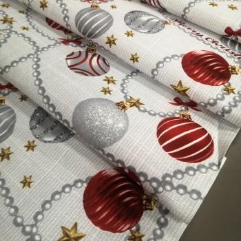 Новогодняя ткань для дорожка Шарики 34092