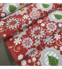 Новогодняя ткань для дорожка Узоры