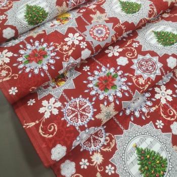 Новогодняя ткань для дорожка Узоры 24092