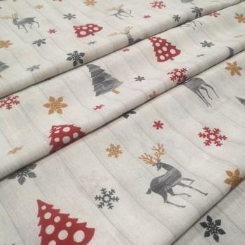 Новогодняя ткань Nordic Олени бежевый 865371