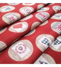 Новогодняя ткань Noel шары красный