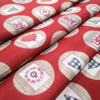 Новогодняя ткань Noel шары красный 575371