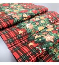 Новогодняя ткань для дорожка Еловая гирлянда