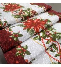 Новогодняя ткань для дорожка Рождественник
