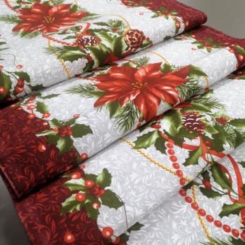 Новогодняя ткань для дорожка Рождественник 1-82003