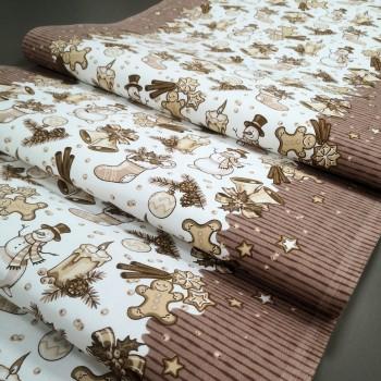 Новогодняя ткань для дорожка Джиндже 2-54092