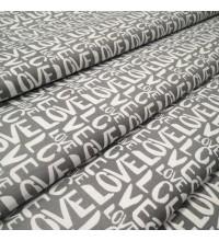 Скатертная ткань Love серый