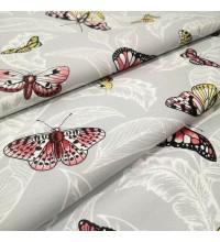 Скатертная ткань Бабочки серый