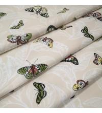 Скатертная ткань Бабочки бежевый
