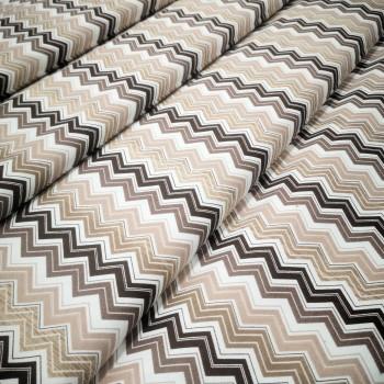 Скатертная ткань Зигзаг мелкий коричневый 5715-9
