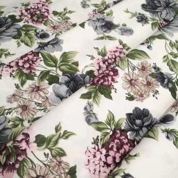 Скатертная ткань Мерием Розы серый 11908-12