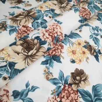 Скатертная ткань Мерием Розы бирюза 11908-13