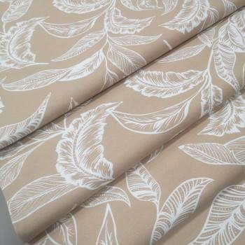 Скатертная ткань Листья бежевый 2824-26
