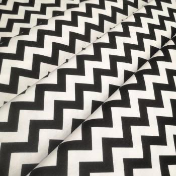 Скатертная ткань Зигзаг чёрный 1004-3
