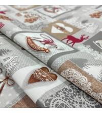 Новогодняя ткань для скатерти Лапландия