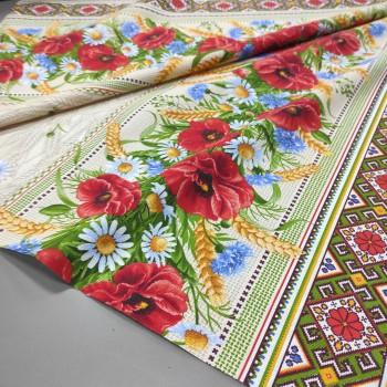 Скатертная ткань рогожка Полевые цветы 183231