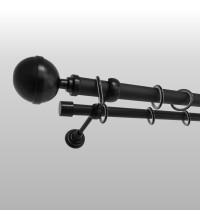 Карниз двухполосный Калисто черный 25+19 мм