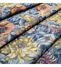 Ткань гобелен Георгины синий
