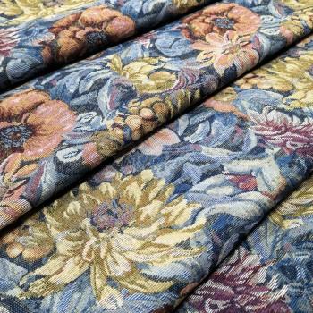 Ткань гобелен Георгины синий 135851