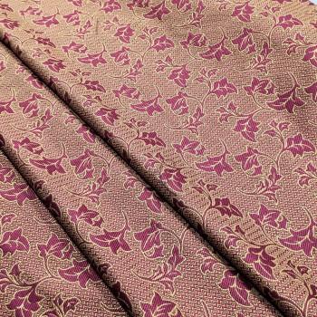Ткань гобелен Листья плюща бордовый 151541