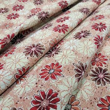 Ткань гобелен Ромашки красный 414821
