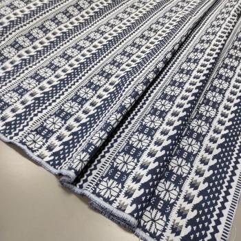 Ткань гобелен Афина орнамент синий 870541