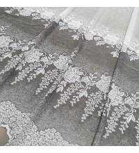Тюль Гипюр Букет цветов купон серый 280 см