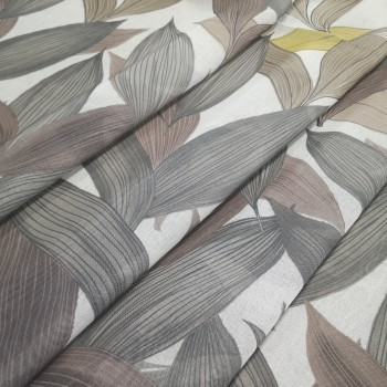 Тюль под лен Листья коричневый