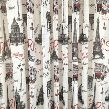 Тюль под лен Париж красный 81209
